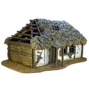 Russian Village House with Thatched Roof