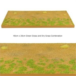 Modular Terrain Road Section with Green Grass and Dry Grass