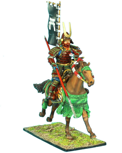 Mounted Samurai Charging with Yari and Sashimono - Takeda Clan
