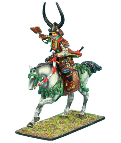 Mounted Samurai Commander Charging with Gunbai - Takeda Clan
