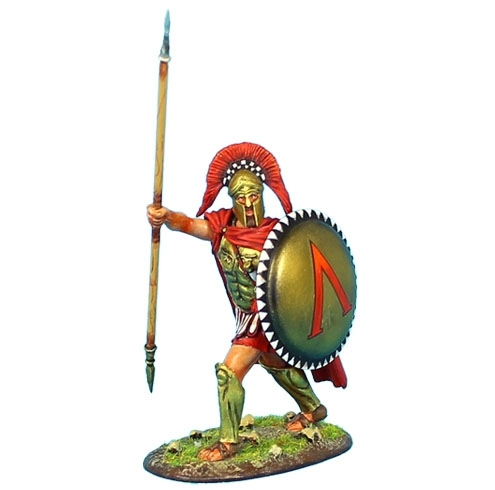 Greek Hoplite Commander with Brass Armor and Sparta Shield