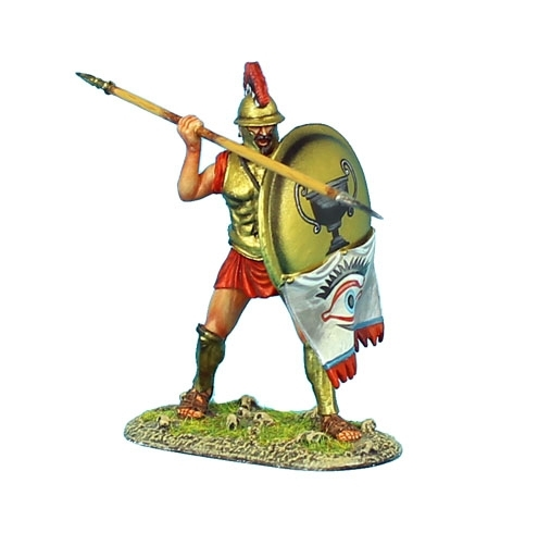 Greek Hoplite with Thracian Helmet and Brass Armor