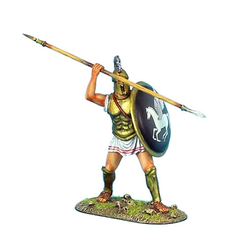 Greek Hoplite with Brass Armor and Pegasus Shield