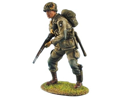 US Airborne Paratrooper Standing with M1 Garand