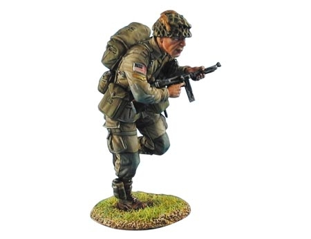 US Airborne Corporal Running with Thompson SMG