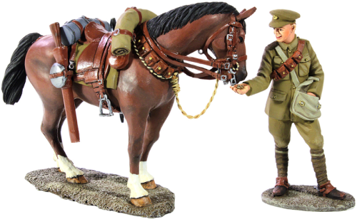 1916-18 British Lancer Feeding Horse