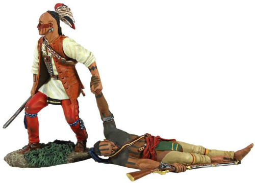 """Now One Left Behind"" - Eastern Woodland Indian Dragging Wounded Comrade Hand-to-Hand Set"