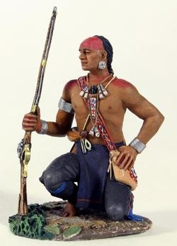 Eastern Woodland Indian Kneeling with Hand on Hip
