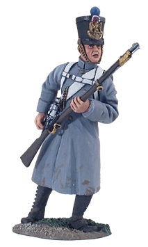 French Line Infantry Fusilier in Greatcoat Reaching for Cartridge No.1