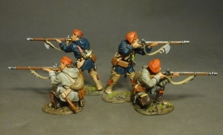FRENCH MILITIA, QUEBEC BRIGADE, 4 Militia Skirmishing, (4pcs)