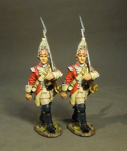 BATTLE ON THE MONONGAHELA 1755, BRITISH 48th REGIMENT OF FOOT, GRENADIERS MARCHING, (2pcs)