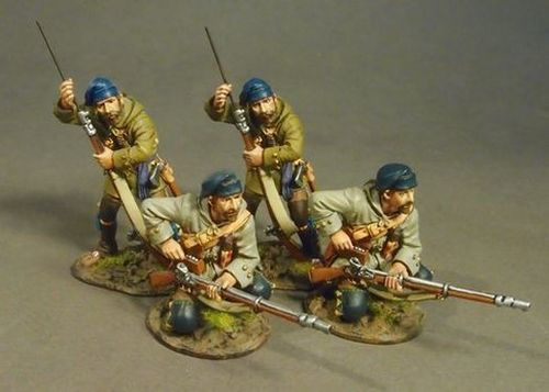 THE RAID ON ST. FRANCIS 1759, FRENCH MILITIA, MONTREAL BRIGADE, 4 Militia Skirmishing, (4pcs)