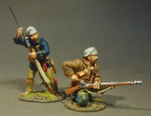 THE RAID ON ST. FRANCIS 1759, FRENCH MILITIA, TROIS RIVIERES BRIGADE, 2 Militia Skirmishing, (2pcs)