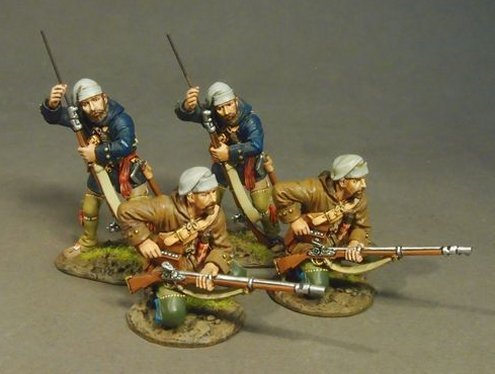 THE RAID ON ST. FRANCIS 1759, FRENCH MILITIA, TROIS RIVIERES BRIGADE, 2 Militia Skirmishing, (4pcs)