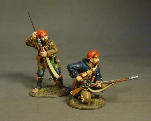 THE RAID ON ST. FRANCIS 1759, FRENCH MILITIA, QUEBEC BRIGADE, 2 Militia Skirmishing, (2pcs)