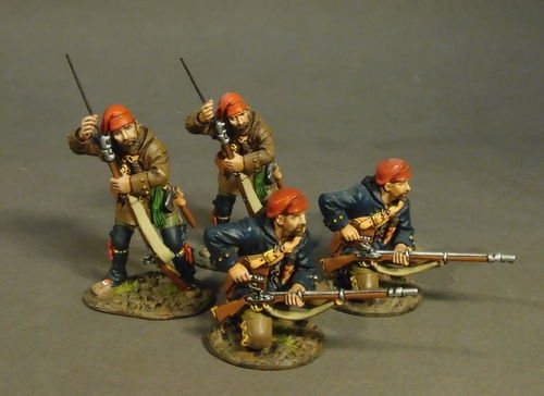 THE RAID ON ST. FRANCIS 1759, FRENCH MILITIA, QUEBEC BRIGADE, 4 Militia Skirmishing, (4 pcs)