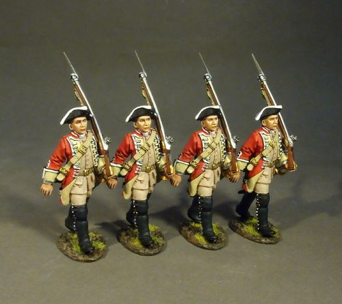 BATTLE ON THE MONONGAHELA 1755, BRITISH 48th REGIMENT OF FOOT, LINE INFANTRY MARCHING, (4pcs)