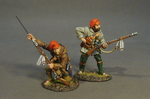 FRENCH MILITIA, QUEBEC BRIGADE, 2 Militia Skirmishing, (2pcs)