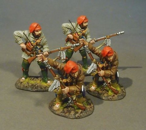 FRENCH MILITIA, QUEBEC BRIGADE, 4Militia Skirmishing, (4pcs)