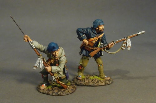 FRENCH MILITIA, MONTREAL BRIGADE, 2 Militia Skirmishing, (2pcs)