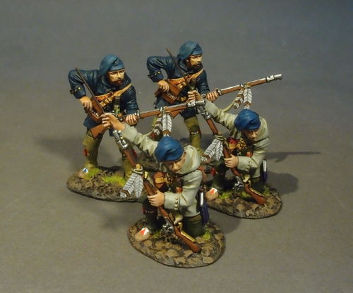 FRENCH MILITIA, MONTREAL BRIGADE, 4Militia Skirmishing, (4pcs)