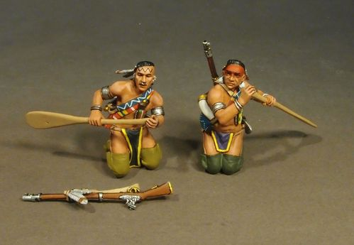 THE RAID ON ST. FRANCIS 1759, 2 Woodland Indians Paddling, (3pcs)