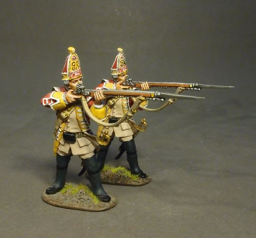 THE BATTLE OF MONONGAHELA 1755, 44th REGIMENT OF FOOT, 2 GRENADIERS FIRING, (2pcs)