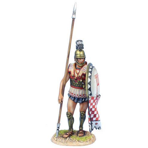 Greek Hoplite Standing with Dory and Shield Curtain