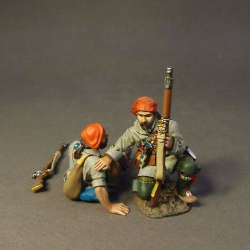 FRENCH MILITIA, QUEBEC BRIGADE, 2 Militia Casualties, (3pcs)
