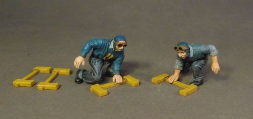 AIRCRAFT CARRIER FLIGHT DECK CREW, PLANE HANDLERS WITH CHOCS, SCALE 1:30 (6pcs)
