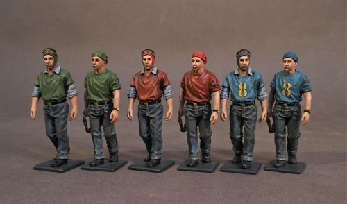 AIRCRAFT CARRIER FLIGHT DECK CREW, FLIGHT DECK CREW WALKING, SCALE 1:30 (6pcs)