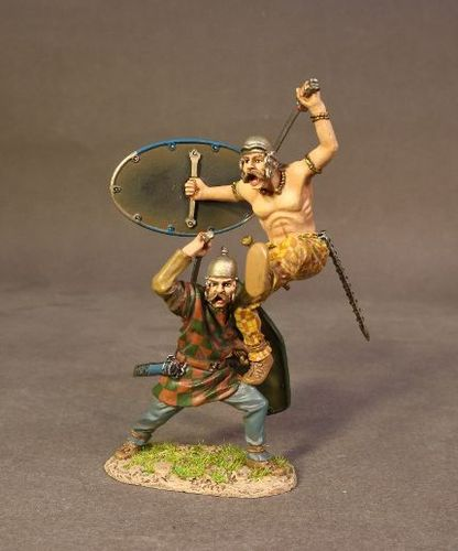 ARMIES AND ENEMIES OF ANCIENT ROME, ANCIENT GAULS, WARRIORS CHARGING. (1 pc)