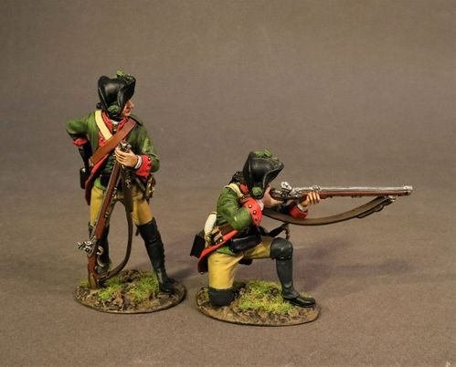 THE BATTLE OF SARATOGA 1777, HESSIAN JAGER CORPS, 2 JAGER SKIRMISHING. (2pcs)