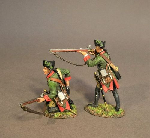 THE BATTLE OF SARATOGA 1777, HESSIAN JAGER CORPS, 2 JAGERS SKIRMISHING. (2pcs)