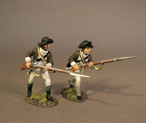 CONTINENTAL ARMY, THE 1st CANADIAN REGIMENT, 2 INFANTRY ADVANCING. (2pcs)